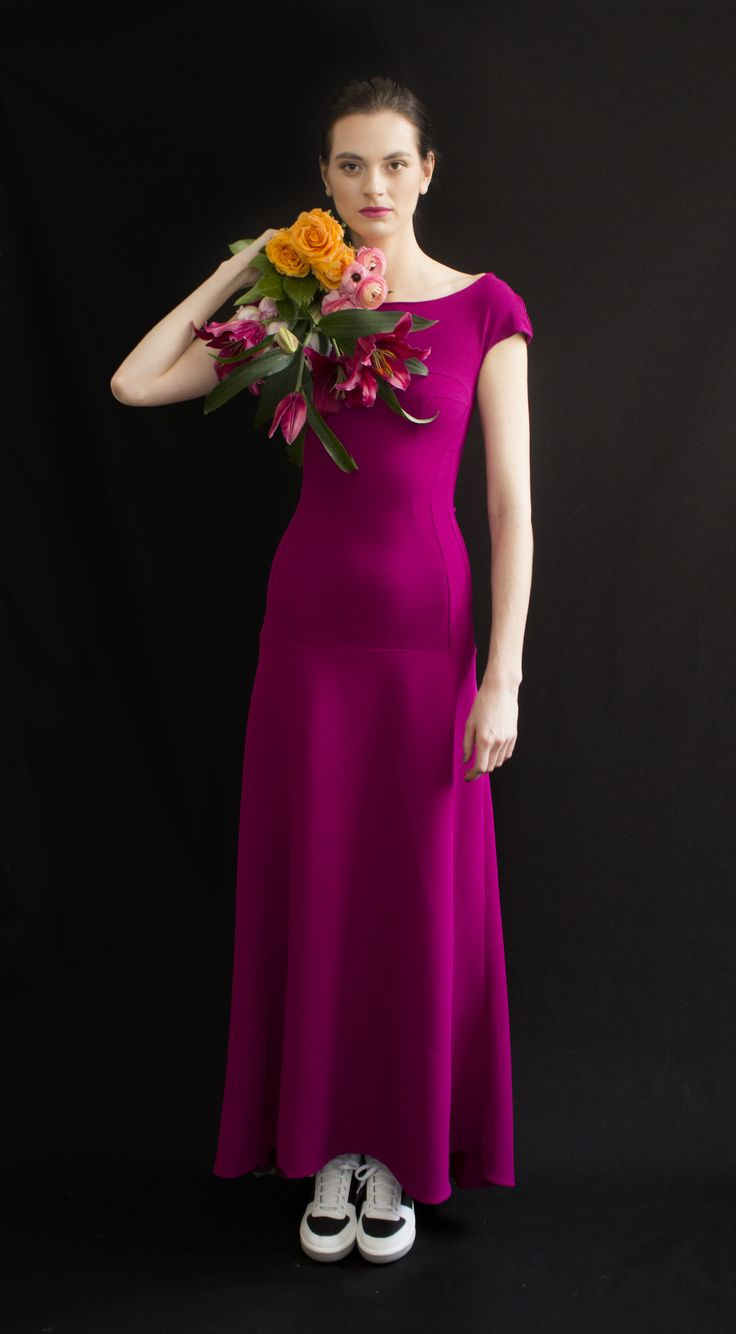 REETIMEE 2015 long magenta dress cuts