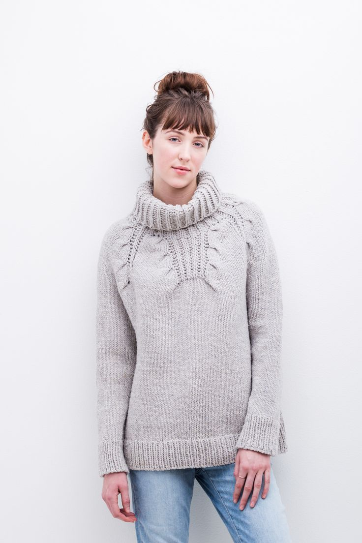 """A plush brioche cowl finishes the distinctive eight-point cabled yoke of this snuggly pullover. Gentle A-line shaping and 5–6"""" of ease make Riptide comfortable and cozy. The knitting is seamless, with the body and sleeves worked in the round from the single-ribbed hem and cuffs upward and then united for the circular yoke. Cleverly placed …"""