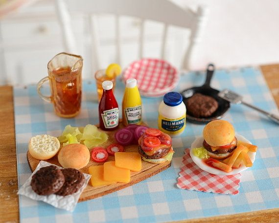 Miniature Making Hamburgers Prep Set by CuteinMiniature on Etsy