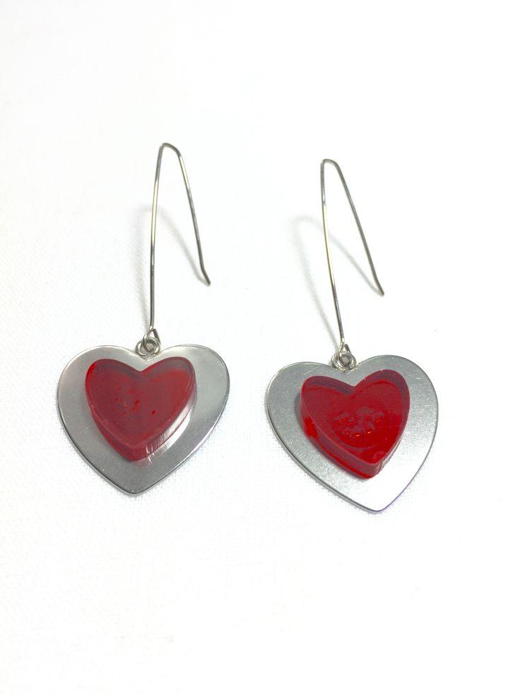 Red Heart Long Earrings