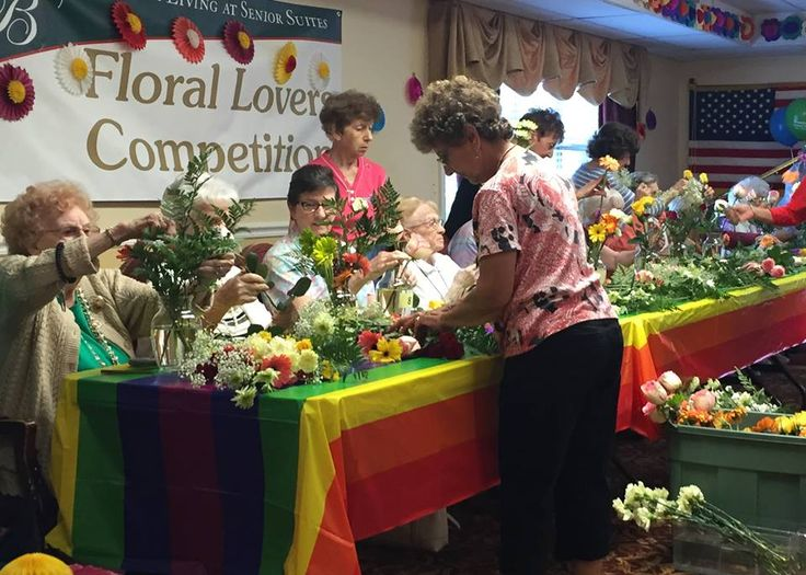 Residents enjoying their annual Floral Competition at our Senior Suites community in East Norriton, PA
