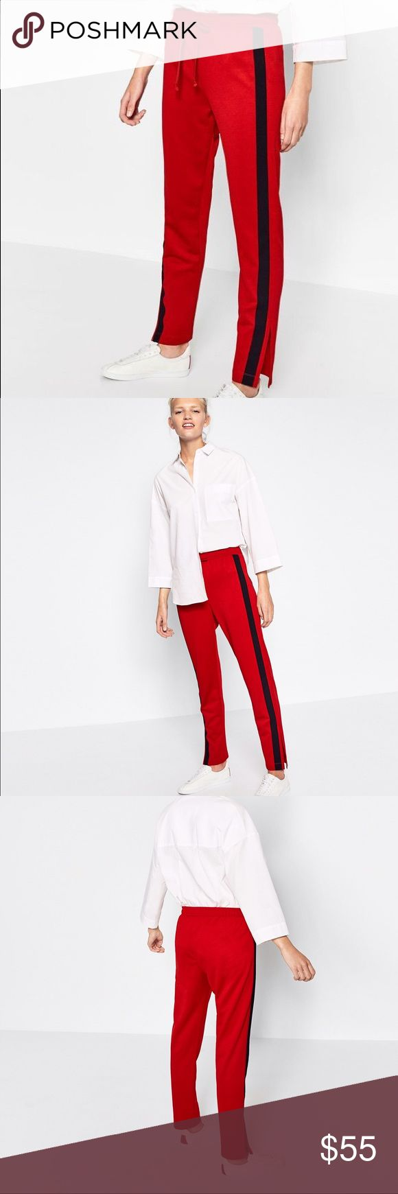 Zara red jogger trousers -- large Love color with side band......elastic waistband with drawstring.... athleisure look still strong Zara Pants Track Pants & Joggers