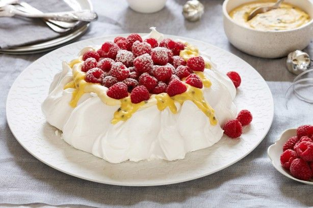 For the perfect finish to your Christmas feast try Curtis Stone's delicous raspberry and passionfruit pavlova.