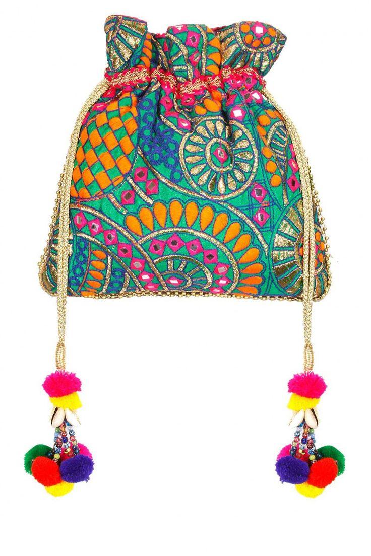 Muti colored phulkari potli bag .
