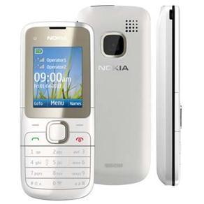 Celular Desbloqueado Claro Nokia C2-00 Branco Dual Chip c/ Câmera VGA, Rádio FM, MP3, Bluetooth e Fone de Ouvido