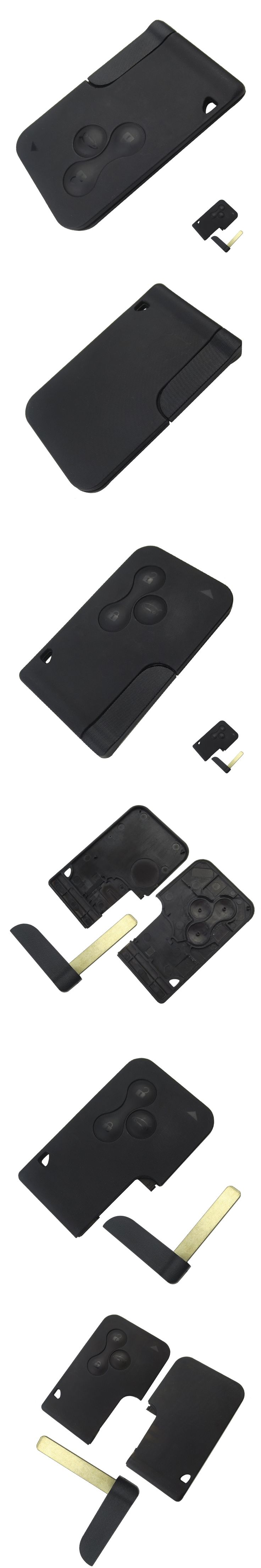 3 Button Smart Card For Renault Clio Logan Megane 2 3 Koleos Scenic Card Case Black Car Key Fob Shell with Small Key Uncut Blade