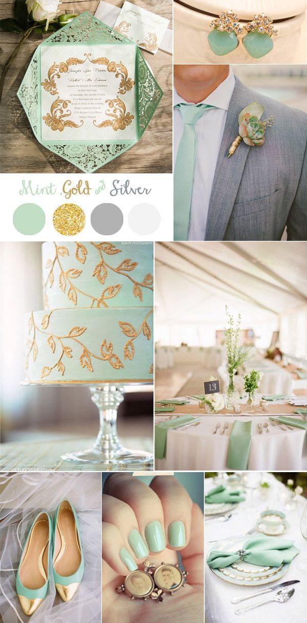 vintage mint, gold and silver wedding color ideas and invitations