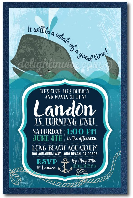 Nautical Whale 1st Birthday Invitations, expertly printed, artfully hand-mounted on navy blue metallic card stock, these precious whale birthday invitations are the perfect choice for your nautical theme birthday invitations!