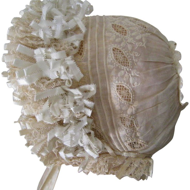 Whitework Embroidery Baby Cap c.1860 Antique Bonnet from stonehouseantiques on Ruby Lane
