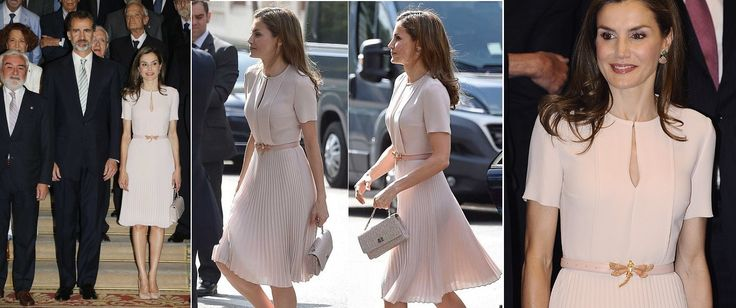 Queen Letizia visited Royal Spanish Academy in June 2017.   Her look included A pleated dress from HUGOBOSS, An Uterque Belt, Magrit Clutch, Lodi Shoes and CooLook earrings.  Visit  http://www.regalfille.com/2017/6/Letizia-new-look.php