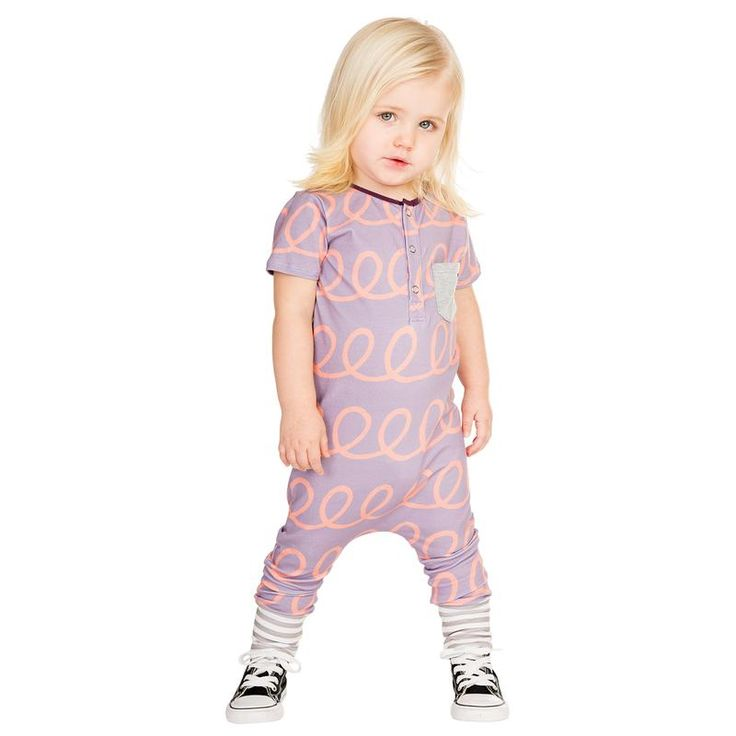 These Rompers are made from a very soft, stretchy spandex/jersey knit fabric. The elastic neckline and button down front provides easy on and off while reinforcing its shape. Colored cuffs and pocket