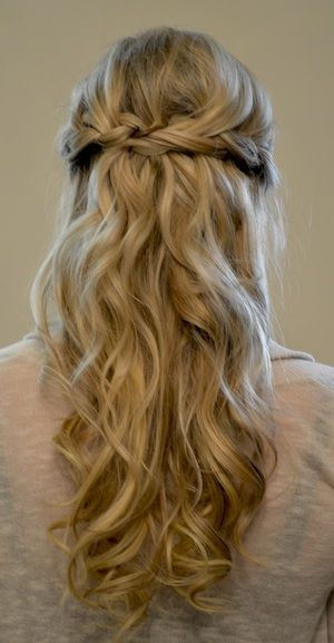 Simple braided prom half updo hairstyle for long hair