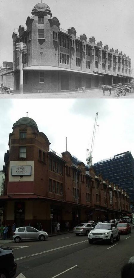 The corner of Ultimo Road and Thomas Street, Haymarket in circa 1910 and 2014. Originally part of the Vegetable Market complex, it is now Aaron's Hotel. Thanks Matt Kay for supplying both photos. [circa 1910 - Sydney City Archives/2014 - Matt Kay. By Phil Harvey]