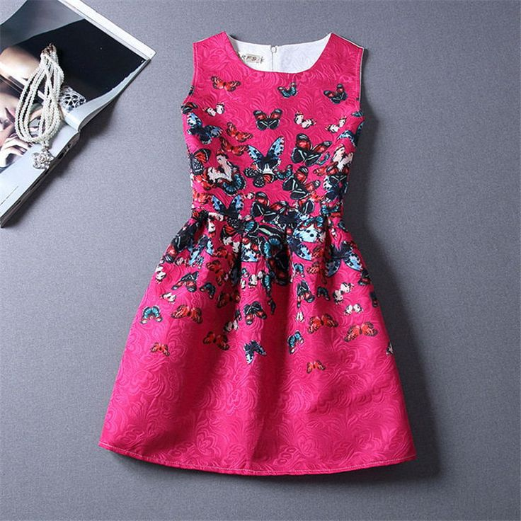 Fashion Cute Girls Print Butterfly Dress Kids Summer Party Children's Print Butterfly Clothing Dresses Age 6 to 12 Years Old