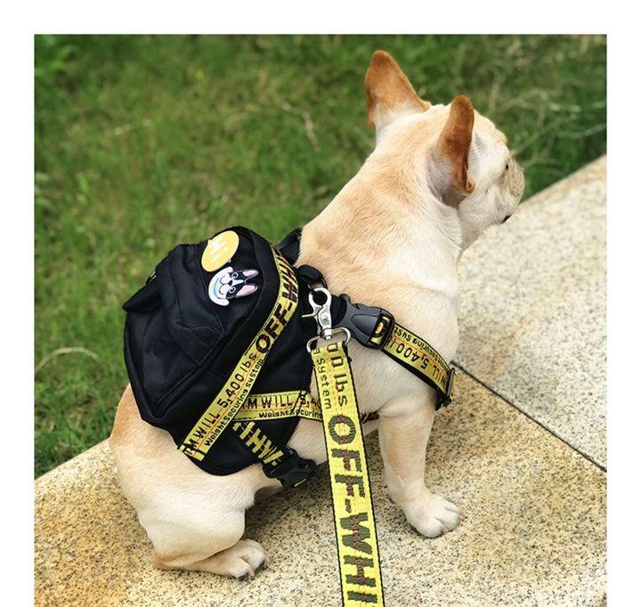 オフホワイト ペットバック 犬バック Supreme ドッグバック 牽引ロープ付き 女の子と犬 犬用の服 ペット
