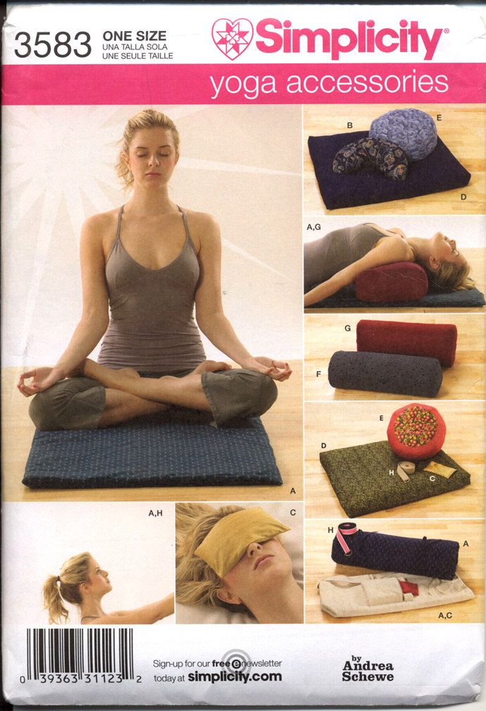Simplicity 3583 Yoga Accessories Pattern by Andrea Schewe 2007 Yoga Mat Strap Case Wedge Bolster Pillows Eye Bag OOP Sewing Pattern UNCUT. $38.00, via Etsy.