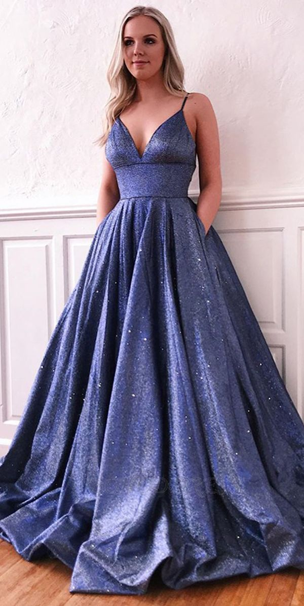 Purple Spaghetti Straps Sleeveless Prom Evening Dress With Pockets Psk042 Prom Dresses With Pockets Prom Dresses Long Straps Prom Dresses