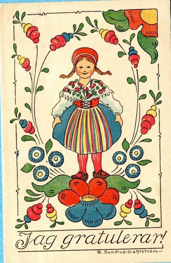 Sundius Dahlstrom postcard, 1919 | eBay Swedish - Congratulations ( Birthday)