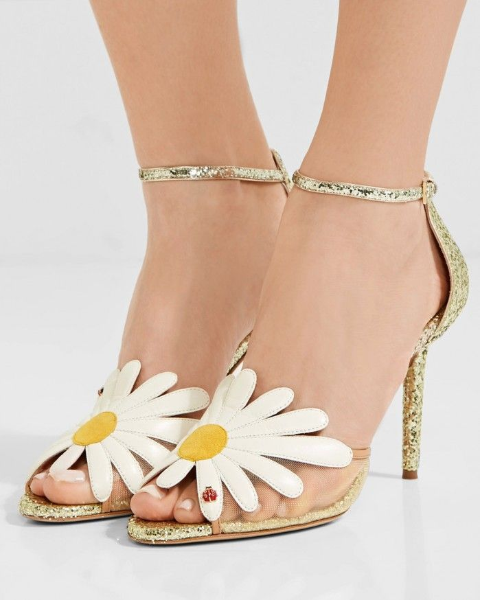 CHARLOTTE OLYMPIA Margherite appliquéd mesh and glittered leather sandals | Buy ➜ https://shoespost.com/charlotte-olympia-margherite-appliqued-mesh-glittered-leather-sandals/