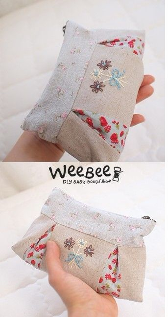 Cute pleated pouch, love the embroidery!