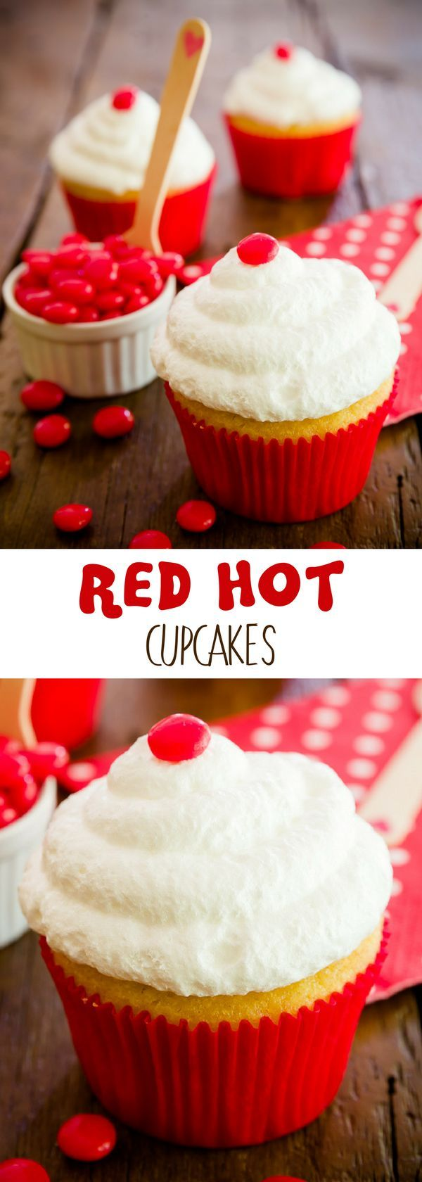 Red hot cupcakes are not for the faint of heart – they are, well, red hot and spicy! For more simple baking desserts recipes and homemade sweet treats, check us out at #cupcakeproject. #desserts #yummydesserts #recipeoftheday #sweettooth