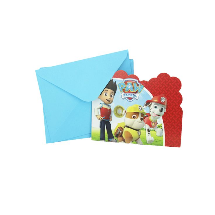 6pcs Envelop Shape dog  Theme Party Invitation Card Kids Baby Birthday/Festival Party Card Decoration Supplies