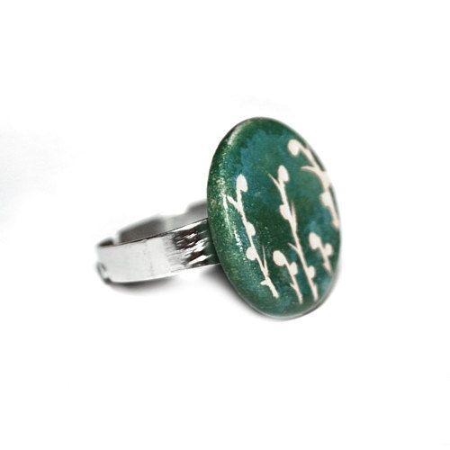 Ceramic jewelry ceramic ring  natural jewelry flower by Brekszer