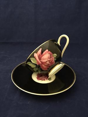 Beautiful Vintage Thomas pink rose black tea cup and saucer with gold Germany