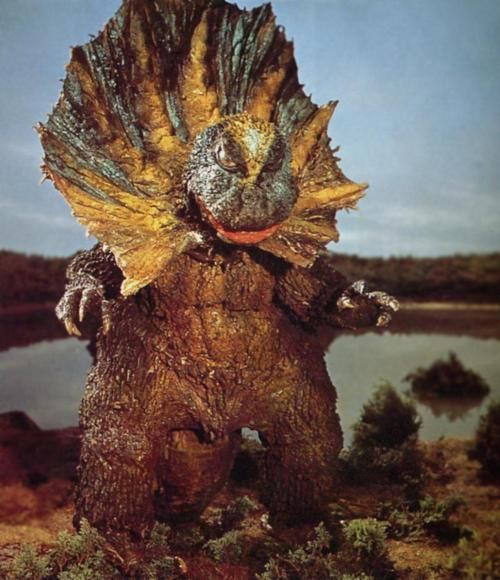 Jirass from Ultraman; more like Godzilla wearing one of those Elizabethan collars your dog wears when he comes home from the vet...
