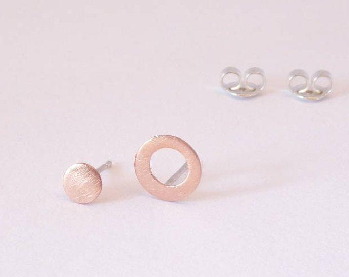 Asymmetrical stud earring-Copper post earrings-Handmade tiny earring MINOatelier.etsy.com  (scheduled via http://www.tailwindapp.com?utm_source=pinterest&utm_medium=twpin)