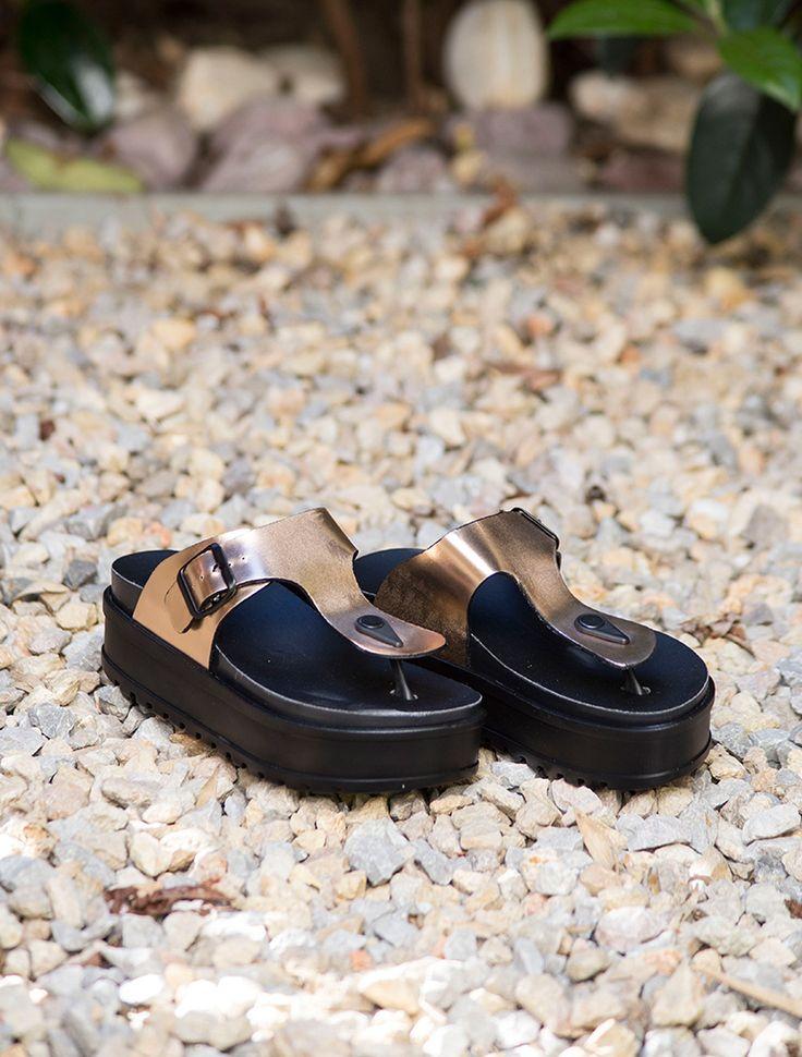 SANDALET / TERLİK Jersey Bakır Kalın Taban Parmak Arası Sandalet
