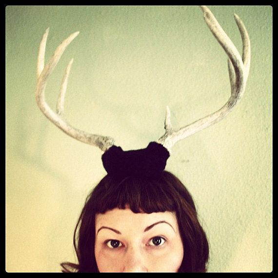 Deer Antler Headband  black base with 7 point horns by doublespeak, $89.00: Antlers Headbands, Deer Antlers, Black Based, Points Horns, Headbands Black