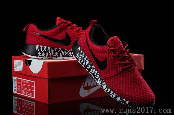 Nike Roshe Run Mesh Black Red Men