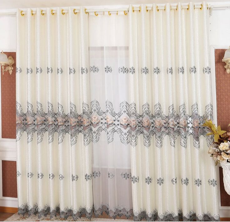 Modern 2015 New Living Room Curtains With Lace Design