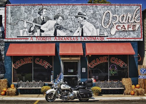 Ozark Cafe.  Jasper, Arkansas.  This is one of the best places to eat I've ever been!!  Really awesome antique decor.
