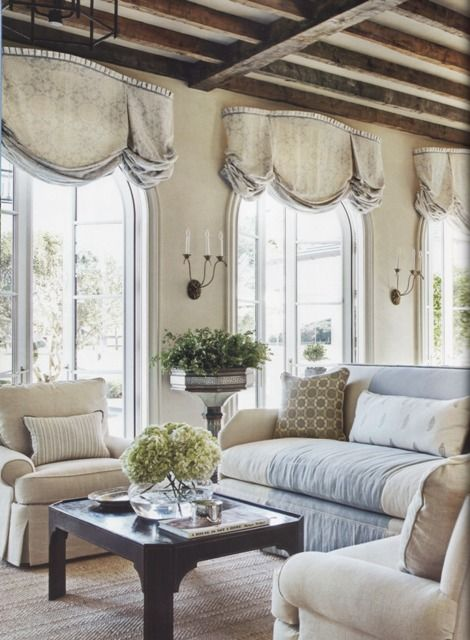 linen fabrics/ window valances - interesting way of doing a valance