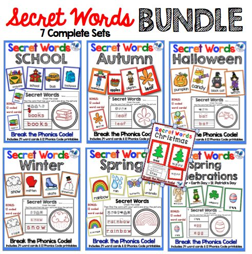 """This is the full year bundle of seven complete sets. Each set includes vocabulary for themes such as Back to School, Autumn, Halloween, Winter, Spring, and Celebrations (St. Patricks Day, Earth Day and Easter) Focus on letter sounds and formation as students """"crack the code"""" with phonics codes. $ Also available individually. Whimsy Workshop Teaching ~ Early literacy"""