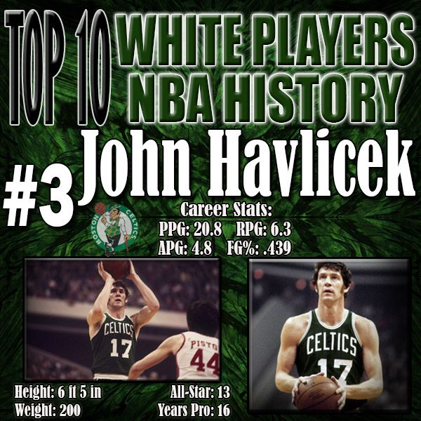 Do you know who the all-time leading scorer for the Boston Celtics? If you answered Larry Bird you are incorrect… it's John Havelicek. He was as much an impact on the Boston Celtics as Bill Russell was as proven by winning 2 NBA Titles AFTER Russell retired. His constant running on offense style of play has been emulated by modern day players and is the reason he was such a successful scorer and 8 time NBA Championship winner. http://www.prosportstop10.com/top-10-best-white-nba-players-ever/