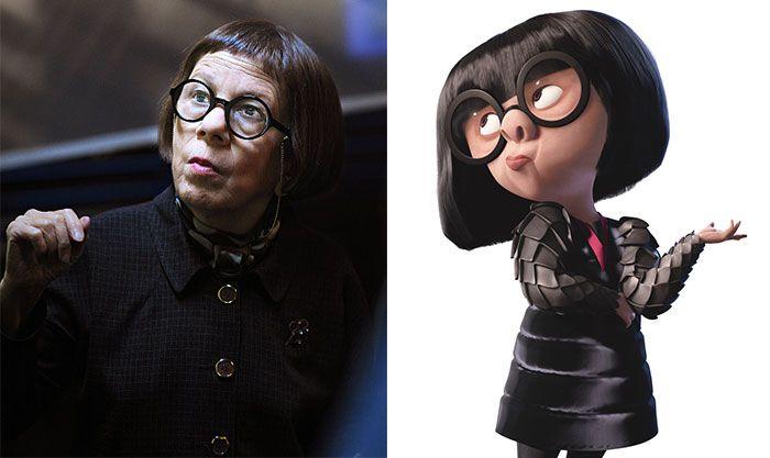 Linda Hunt Looks Like Edna From The Incredibles.  Cartoon look alikes