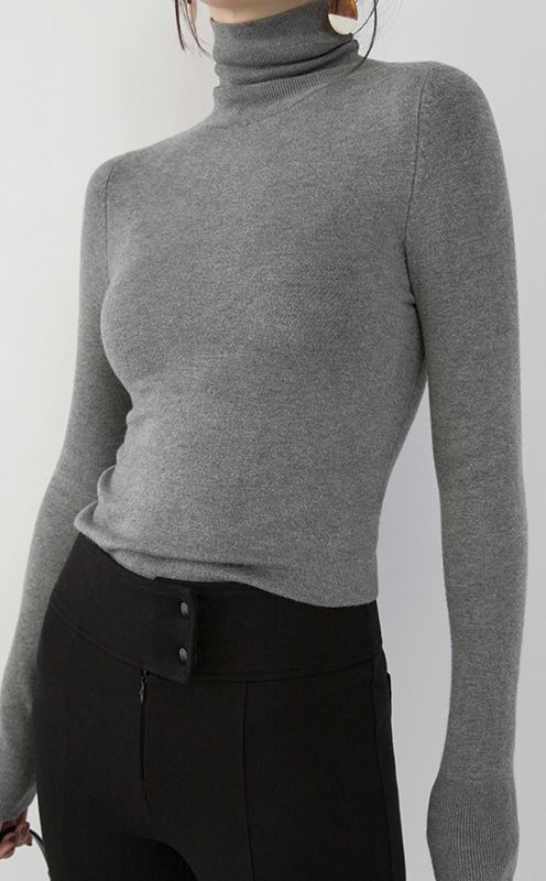 31695ee56d9 Fine gray winter sweater plus size high neck pullover top quality slim  knitted sweaters