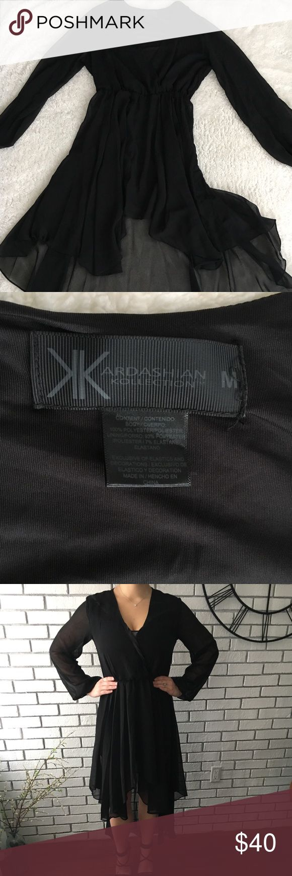 Kardashian Kollection High Low Sheer Dress Black high low sheer dress, flowy long sleeves, elastic at the waste and wrists, only worn once! Kardashian Kollection Dresses High Low