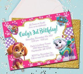 Girl Paw Patrol Invitation Paw Patrol Birthday Invitation Skye