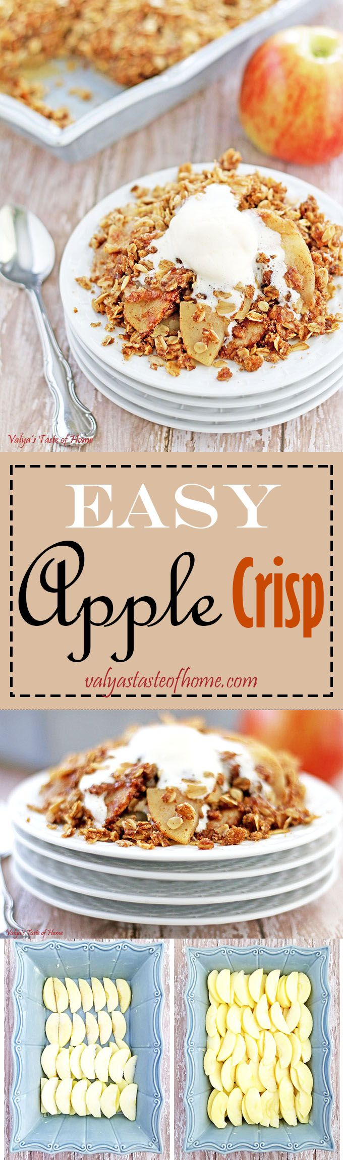 This apple crisp is very similar in taste to the original apple pie, only with so much less sugar and calories. Just as delicious, much less guilt.