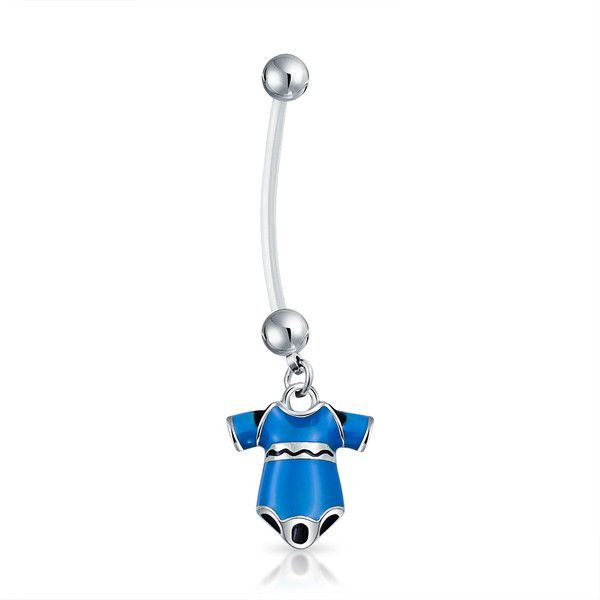 Bling Jewelry Baby Onsie Belly Ring Body Jewelry (6.43 AUD) ❤ liked on Polyvore featuring jewelry, blue, body jewelry, body-piercing-rings, blue steel jewelry, steel jewelry, belly button rings jewelry and body jewellery