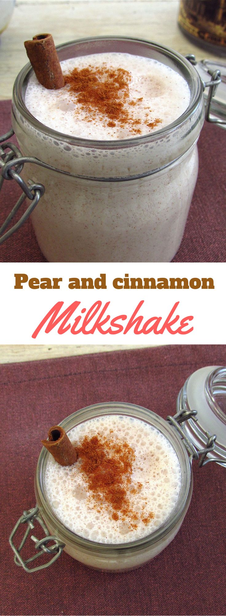Pear and cinnamon milkshake   Food From Portugal. On a hot Summer afternoon a refreshing drink is the best option. Here is the perfect combination of two flavors, pear and cinnamon milkshake is refreshing, creamy and very easy to prepare. #recipe #cinnamon #milkshake #pear