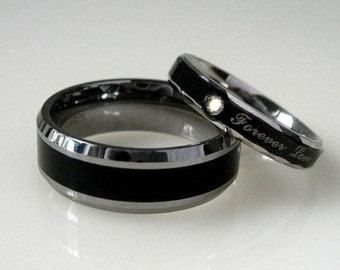2 Pc Black TITANIUM And Stainless Steel Wedding Promise Ring SET Men Band  8mm Women 4mm