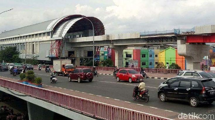 Progres konstruksi stasiun LRT Ampera Palembang  Photo by @detikcom  #palembang #LRT #LRTproject #LRTsumsel #construction #lightrail #waskitakarya #kemenhub #stasiunLRTAmpera #roadtoasiangames2018