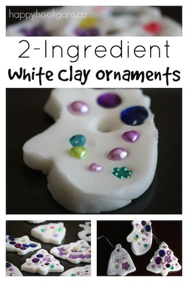 Gorgeous, bright and easy, 2-ingredient white clay dough ornaments. Baking soda and cornstarch. Dried rock hard. Perfect for Christmas decorations.