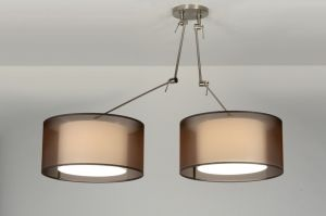 hanglamp  30303: modern, retro, industrie, look, staal ,  rvs, stof, bruin, wit, rond ...