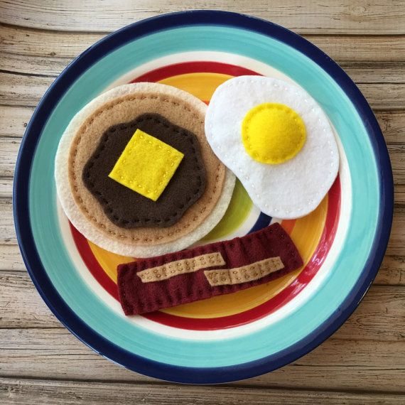 one pancake, egg, one  bacon breakfast | felt food pancake and egg breakfast, felt bacon and pancake, play food ...